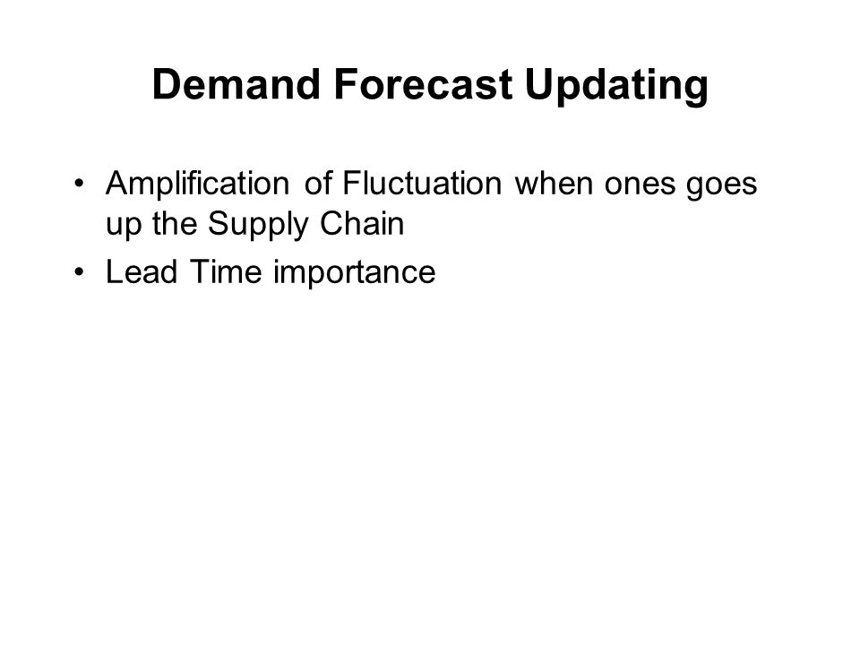 Demand Forecast Updating Amplification of Fluctuation when ones goes up the Supply Chain Lead Time importance