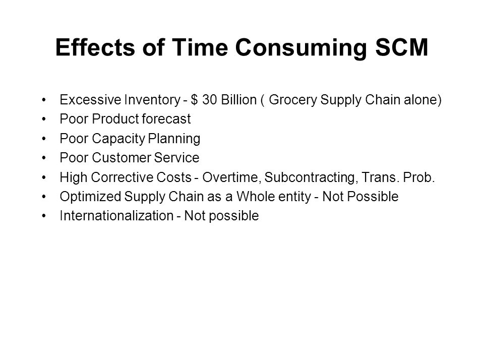 Effects of Time Consuming SCM Excessive Inventory - $ 30 Billion ( Grocery Supply Chain alone) Poor Product forecast Poor Capacity Planning Poor Customer Service High Corrective Costs - Overtime, Subcontracting, Trans.