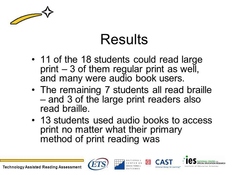 Technology Assisted Reading Assessment Results 11 of the 18 students could read large print – 3 of them regular print as well, and many were audio book users.