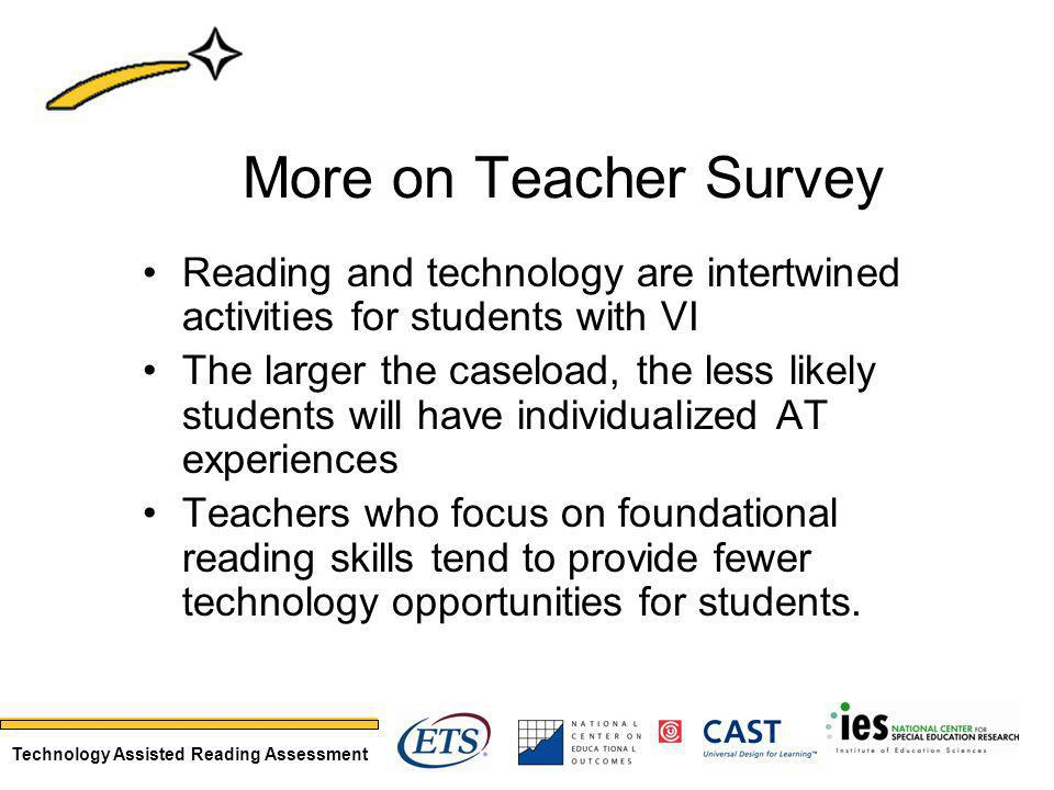 Technology Assisted Reading Assessment More on Teacher Survey Reading and technology are intertwined activities for students with VI The larger the caseload, the less likely students will have individualized AT experiences Teachers who focus on foundational reading skills tend to provide fewer technology opportunities for students.