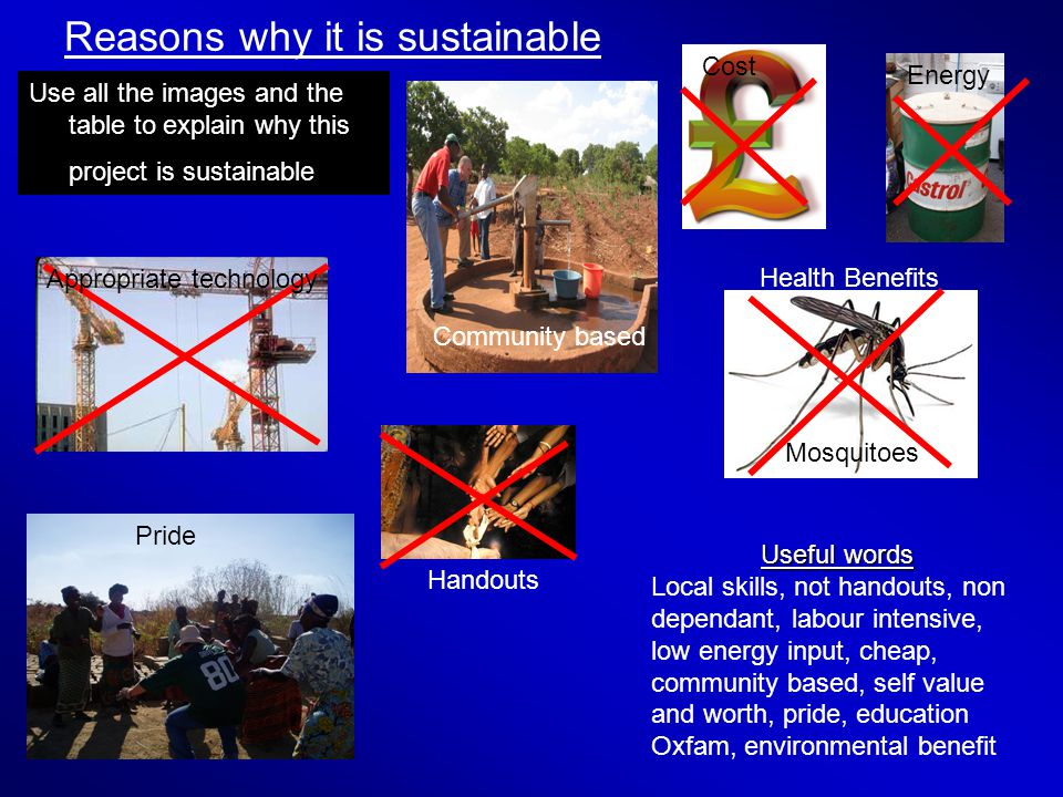 Reasons why it is sustainable Use all the images and the table to explain why this project is sustainable Useful words Local skills, not handouts, non dependant, labour intensive, low energy input, cheap, community based, self value and worth, pride, education Oxfam, environmental benefit Community based Appropriate technology Cost Energy Handouts Pride Health Benefits Mosquitoes