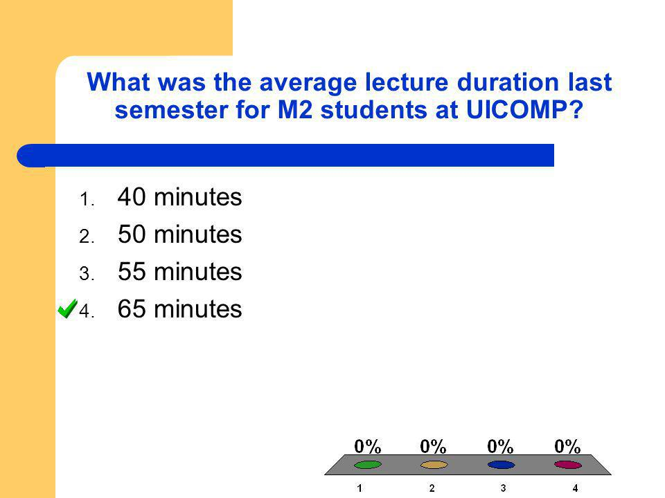 What was the average lecture duration last semester for M2 students at UICOMP? 1. 40 minutes 2. 50 minutes 3. 55 minutes 4. 65 minutes
