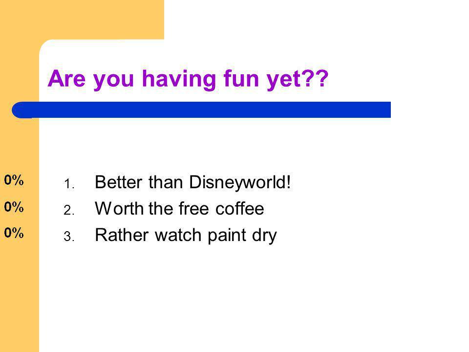 Are you having fun yet?? 1. Better than Disneyworld! 2. Worth the free coffee 3. Rather watch paint dry