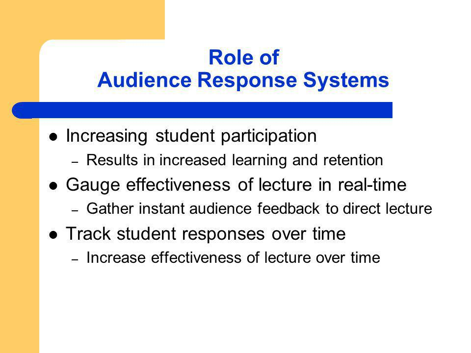 Role of Audience Response Systems Increasing student participation – Results in increased learning and retention Gauge effectiveness of lecture in real-time – Gather instant audience feedback to direct lecture Track student responses over time – Increase effectiveness of lecture over time