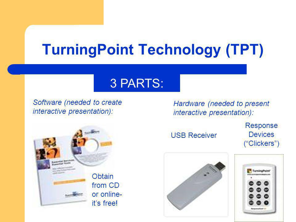 TurningPoint Technology (TPT) Response Devices (Clickers) Obtain from CD or online- its free! Software (needed to create interactive presentation): US