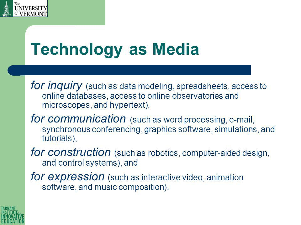 Technology as Media for inquiry (such as data modeling, spreadsheets, access to online databases, access to online observatories and microscopes, and hypertext), for communication (such as word processing, e-mail, synchronous conferencing, graphics software, simulations, and tutorials), for construction (such as robotics, computer-aided design, and control systems), and for expression (such as interactive video, animation software, and music composition).