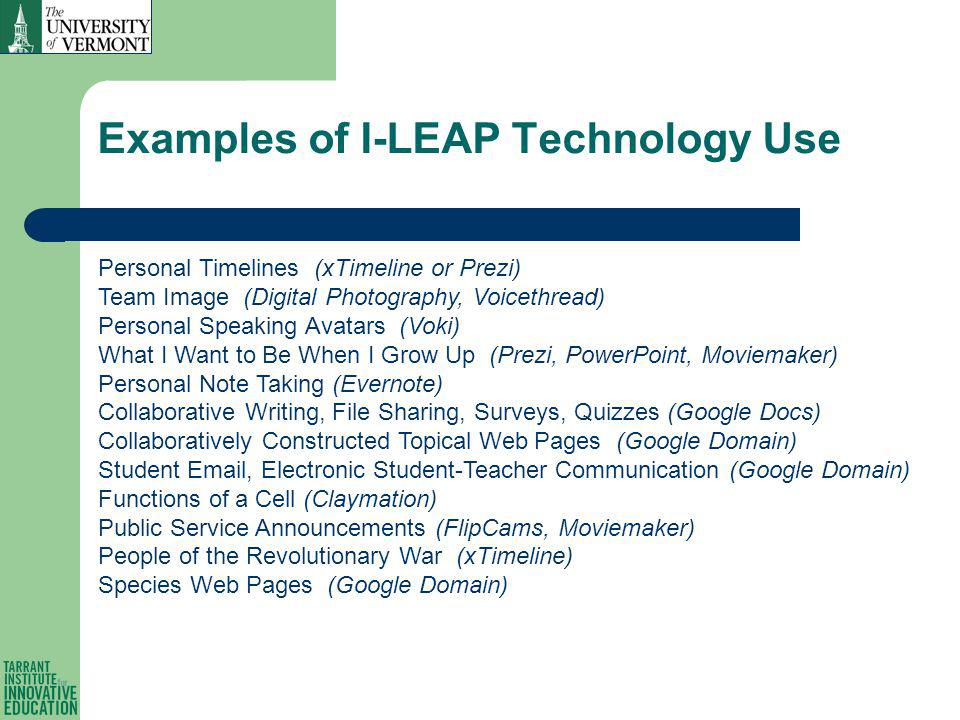 Examples of I-LEAP Technology Use Personal Timelines (xTimeline or Prezi) Team Image (Digital Photography, Voicethread) Personal Speaking Avatars (Voki) What I Want to Be When I Grow Up (Prezi, PowerPoint, Moviemaker) Personal Note Taking (Evernote) Collaborative Writing, File Sharing, Surveys, Quizzes (Google Docs) Collaboratively Constructed Topical Web Pages (Google Domain) Student Email, Electronic Student-Teacher Communication (Google Domain) Functions of a Cell (Claymation) Public Service Announcements (FlipCams, Moviemaker) People of the Revolutionary War (xTimeline) Species Web Pages (Google Domain)