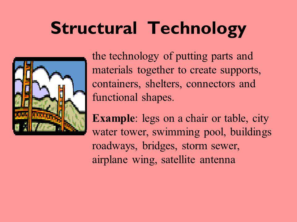 Structural Technology the technology of putting parts and materials together to create supports, containers, shelters, connectors and functional shape
