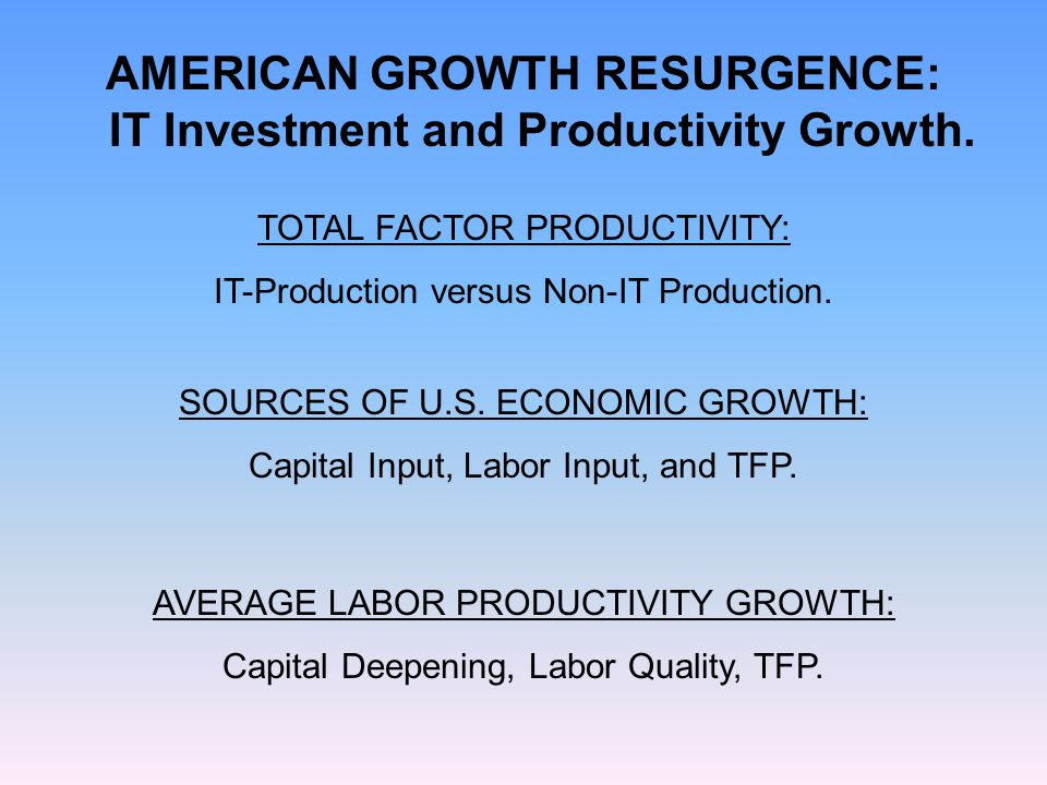 AMERICAN GROWTH RESURGENCE: IT Investment and Productivity Growth. AVERAGE LABOR PRODUCTIVITY GROWTH: Capital Deepening, Labor Quality, TFP. TOTAL FAC