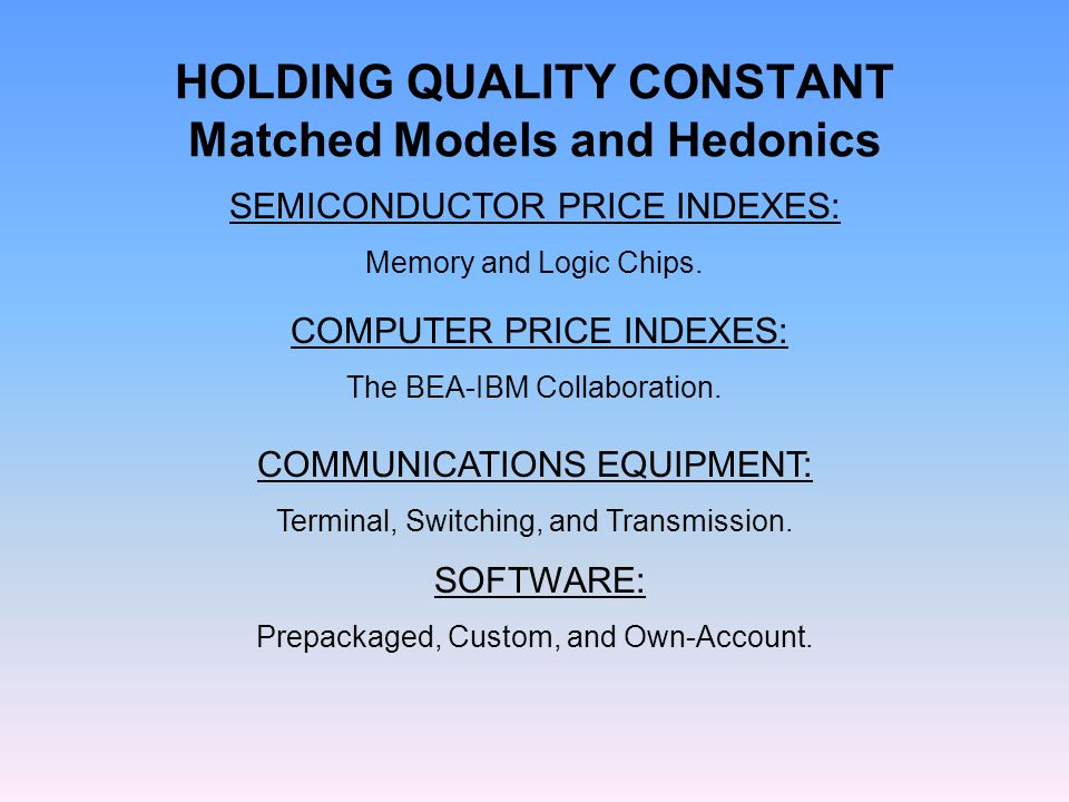 HOLDING QUALITY CONSTANT Matched Models and Hedonics SOFTWARE: Prepackaged, Custom, and Own-Account. SEMICONDUCTOR PRICE INDEXES: Memory and Logic Chi