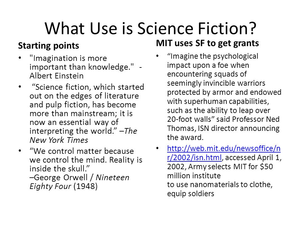 What Use is Science Fiction.