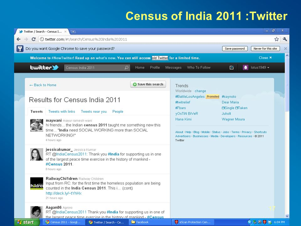 Census of India 2011: Facebook 16