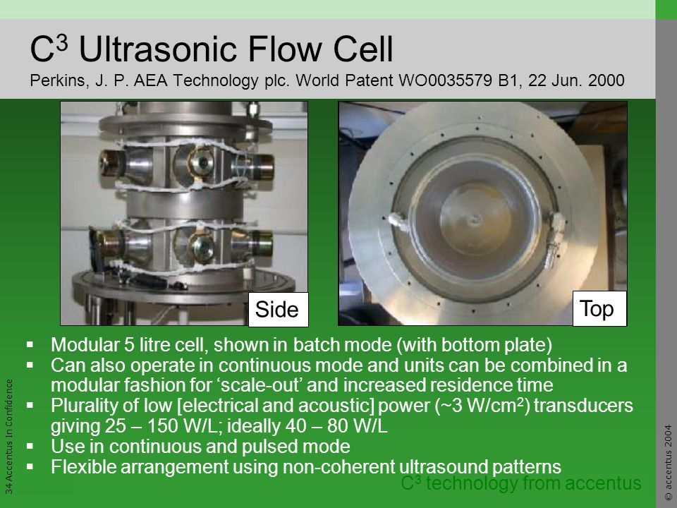 © accentus 2004 34 Accentus In Confidence C 3 technology from accentus C 3 Ultrasonic Flow Cell Perkins, J.