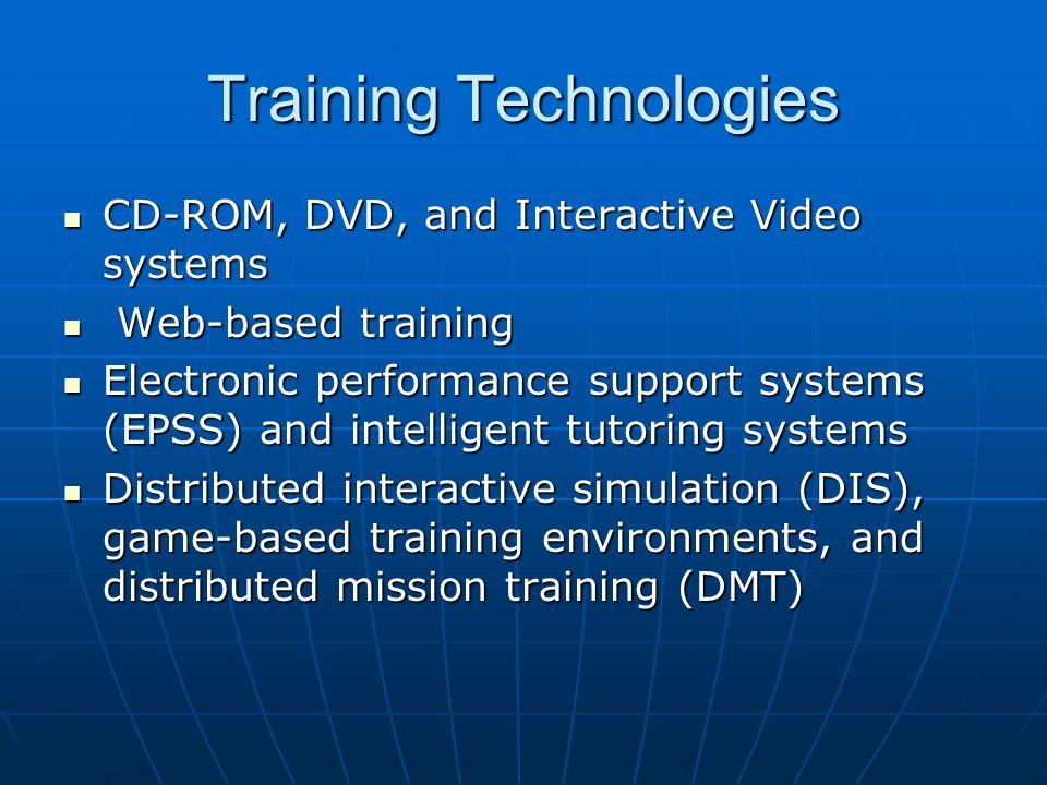 Training Technologies CD-ROM, DVD, and Interactive Video systems CD-ROM, DVD, and Interactive Video systems Web-based training Web-based training Elec
