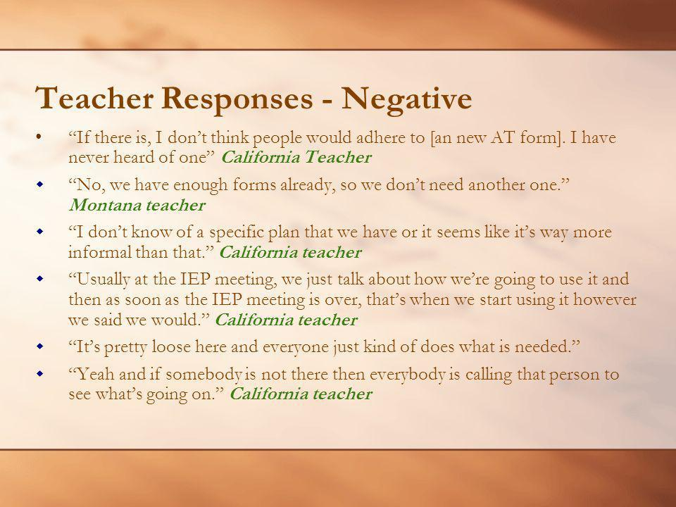 Teacher Responses - Negative If there is, I dont think people would adhere to [an new AT form].