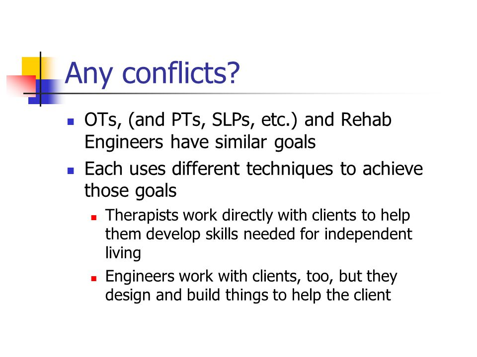 Any conflicts.