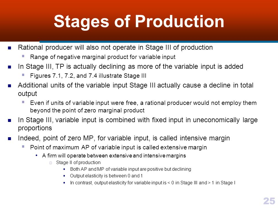 25 Stages of Production Rational producer will also not operate in Stage III of production Range of negative marginal product for variable input In St