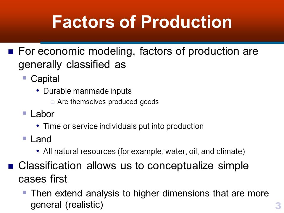 34 Classifying Production Functions Production functions represent tangible (measurable) productive processes Economists pay more attention to actual form of these functions than to form of utility functions Resulted in classification of production functions in terms of returns to scale and substitution possibilities Empirical estimates of actual production functions For some production processes it may be extremely difficult if not impossible to substitute one input for another