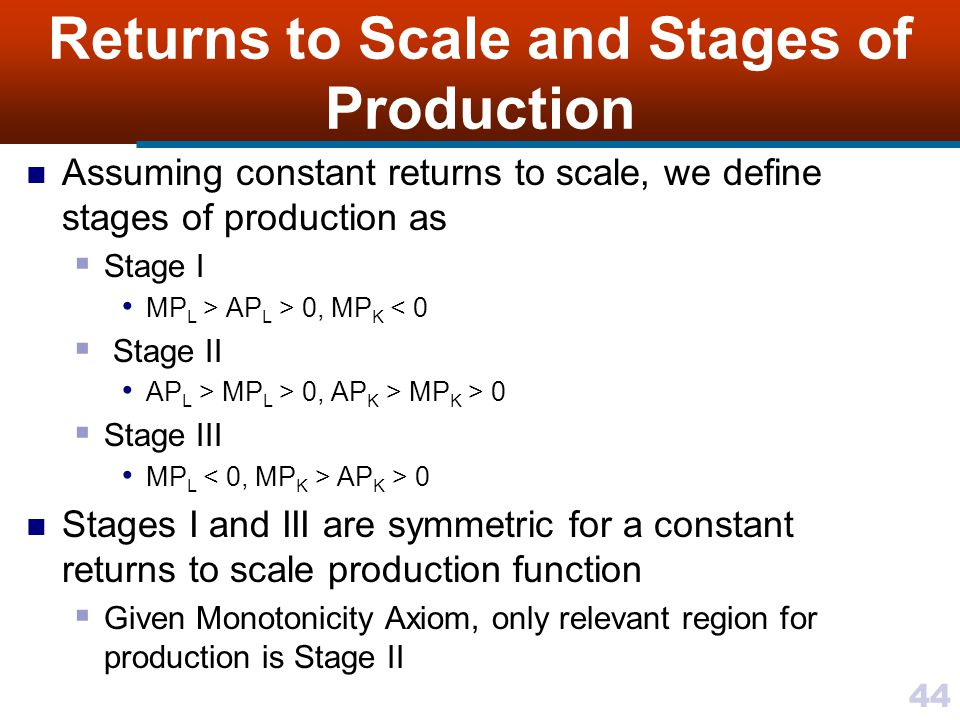 44 Returns to Scale and Stages of Production Assuming constant returns to scale, we define stages of production as Stage I MP L > AP L > 0, MP K < 0 S