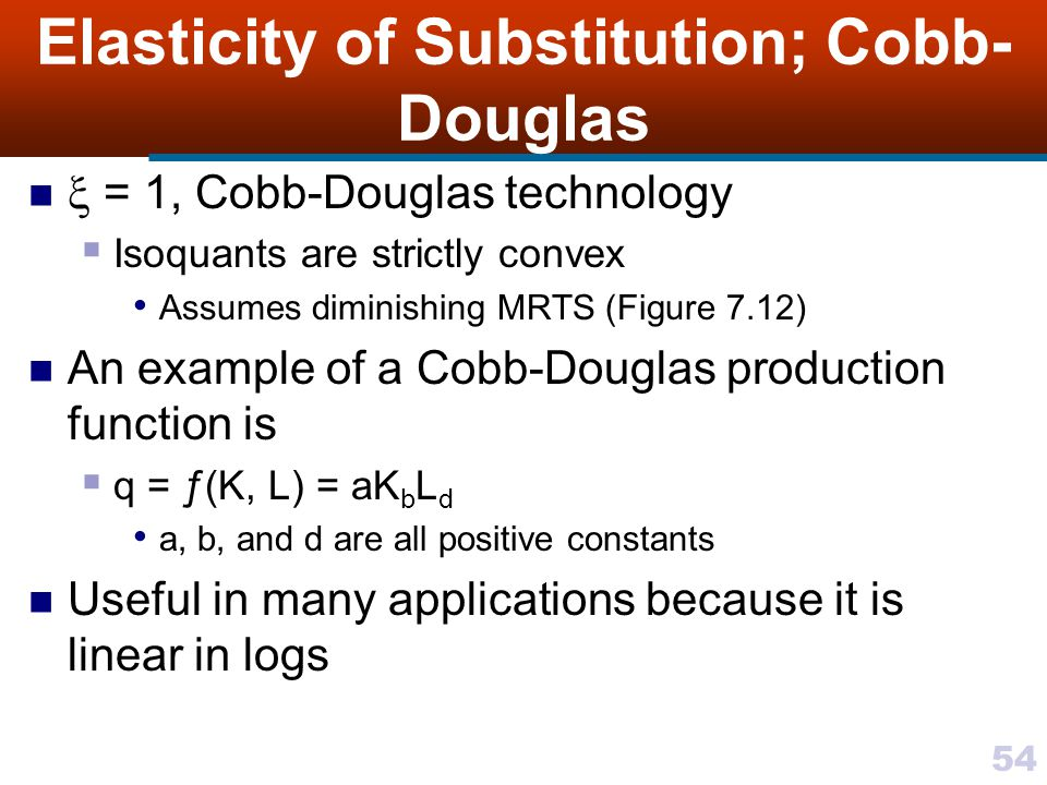 54 Elasticity of Substitution; Cobb- Douglas = 1, Cobb-Douglas technology Isoquants are strictly convex Assumes diminishing MRTS (Figure 7.12) An exam