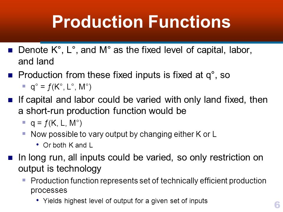 6 Production Functions Denote K°, L°, and M° as the fixed level of capital, labor, and land Production from these fixed inputs is fixed at q°, so q° =