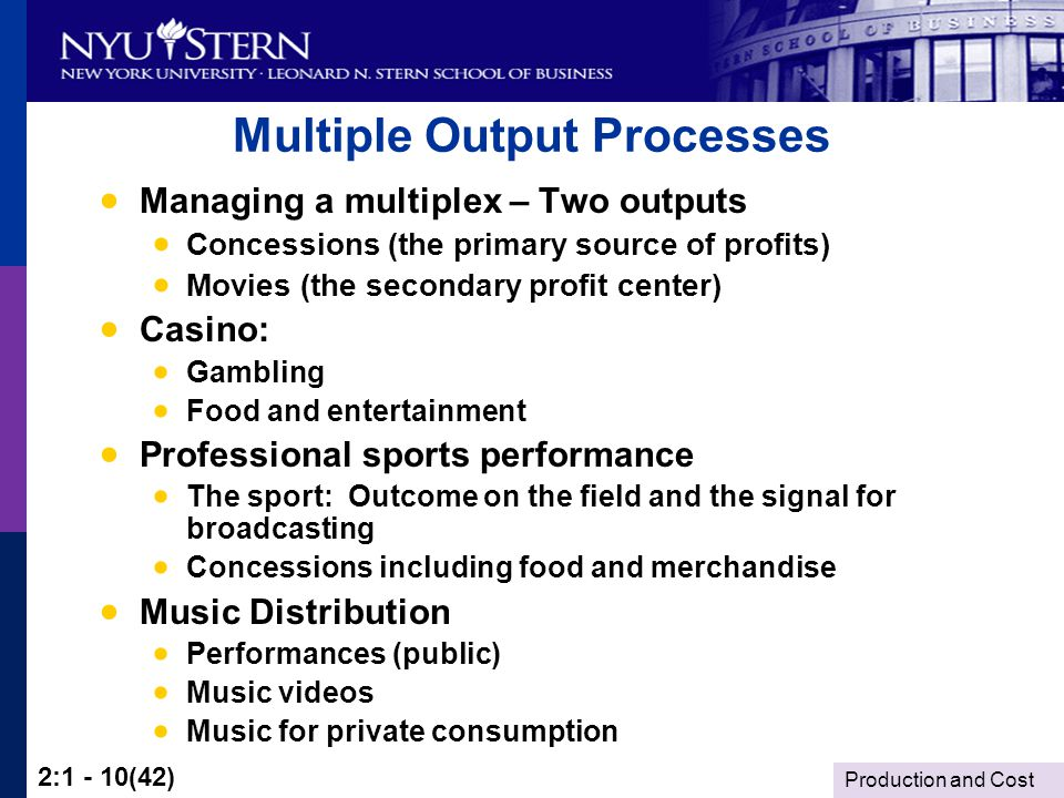 Production and Cost 2:1 - 10(42) Multiple Output Processes Managing a multiplex – Two outputs Concessions (the primary source of profits) Movies (the secondary profit center) Casino: Gambling Food and entertainment Professional sports performance The sport: Outcome on the field and the signal for broadcasting Concessions including food and merchandise Music Distribution Performances (public) Music videos Music for private consumption