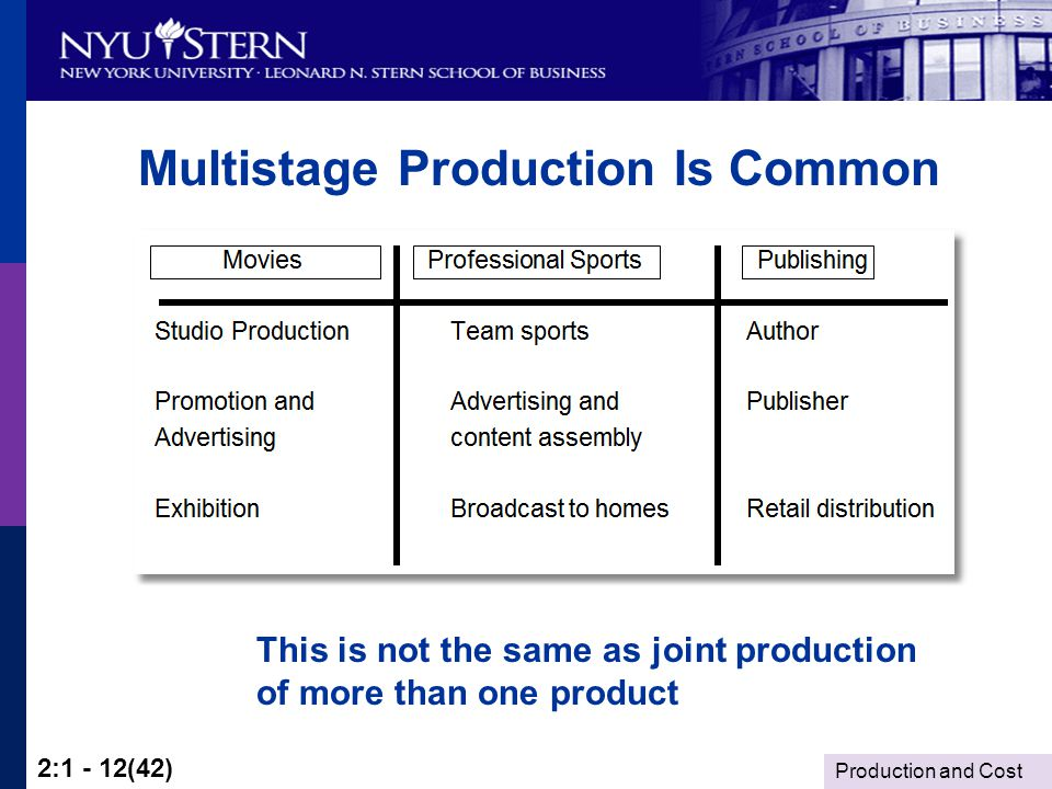 Production and Cost 2:1 - 12(42) Multistage Production Is Common This is not the same as joint production of more than one product