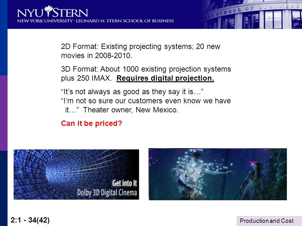 Production and Cost 2:1 - 34(42) 2D Format: Existing projecting systems; 20 new movies in 2008-2010.