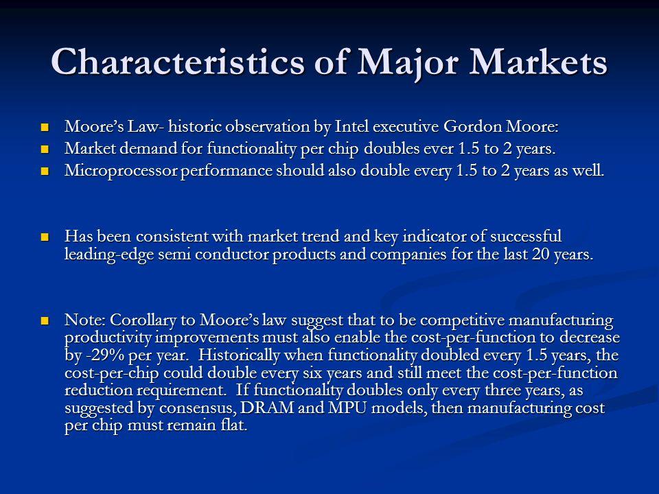 Characteristics of Major Markets Moores Law- historic observation by Intel executive Gordon Moore: Moores Law- historic observation by Intel executive