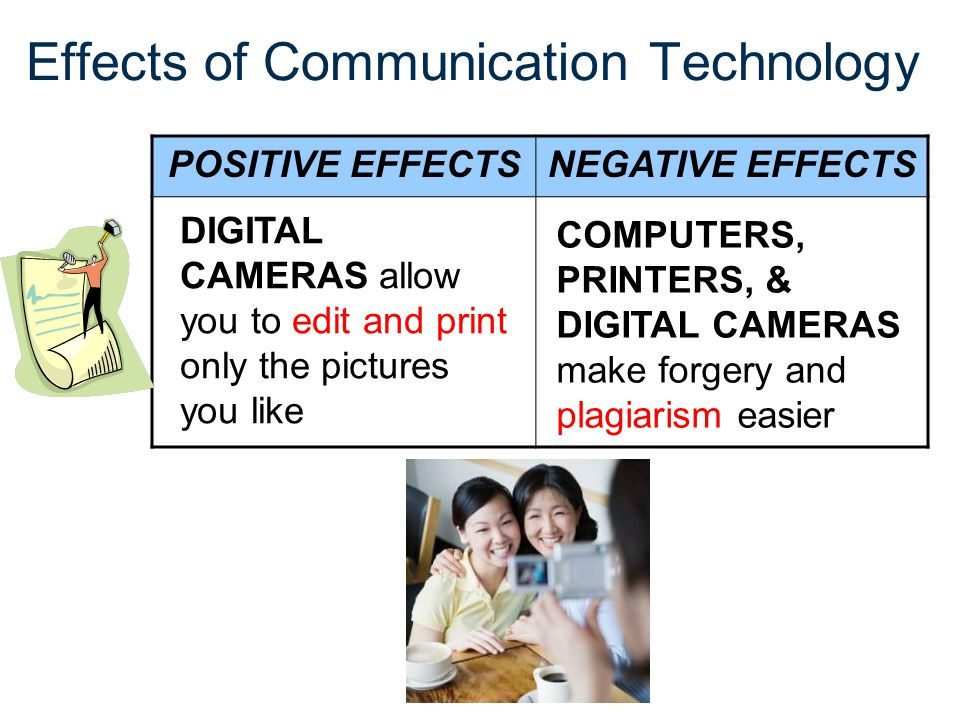 Effects of Communication Technology POSITIVE EFFECTSNEGATIVE EFFECTS DIGITAL CAMERAS allow you to edit and print only the pictures you like COMPUTERS,