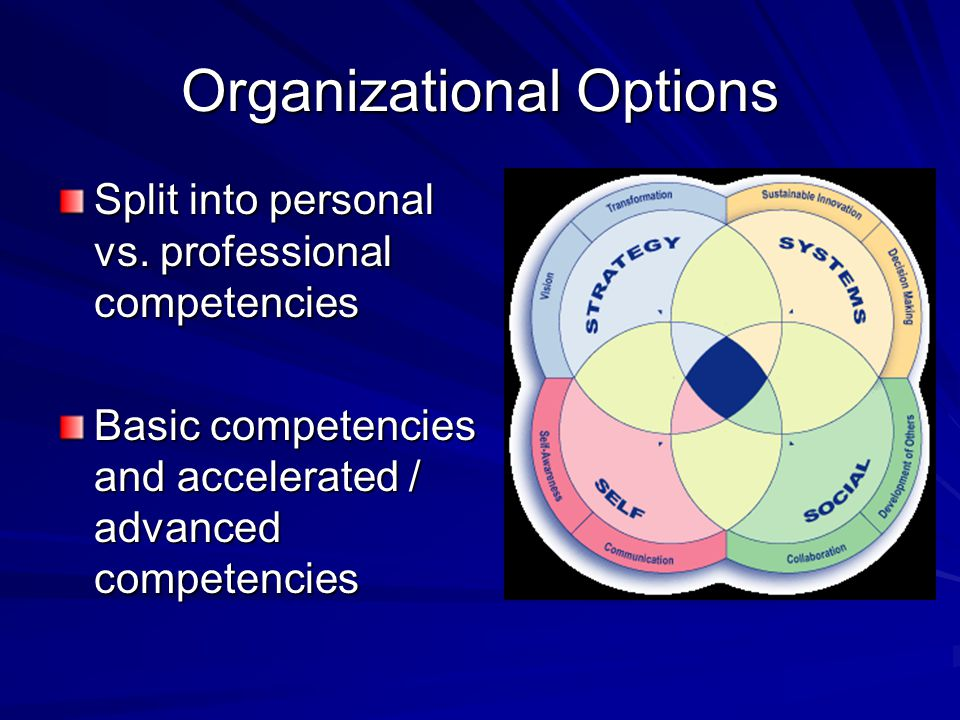 Organizational Options Split into personal vs.