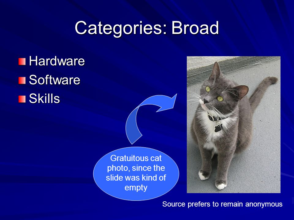 Categories: Broad HardwareSoftwareSkills Source prefers to remain anonymous Gratuitous cat photo, since the slide was kind of empty