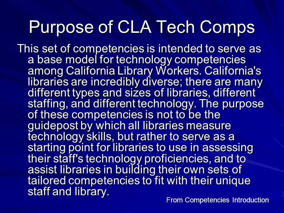 CLA Competencies Sample Security Know what security software is used on staff and public computers and how it protects the computers Identify spam Be aware of the potential security and privacy threats while using email and the Internet (including cookies, downloading malicious files, unsecured communications, viruses, e-mail hoaxes, spyware, adware, and phishing)