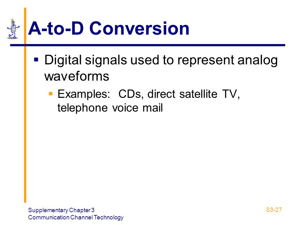 Supplementary Chapter 3 Communication Channel Technology S3-27 A-to-D Conversion Digital signals used to represent analog waveforms Examples: CDs, dir