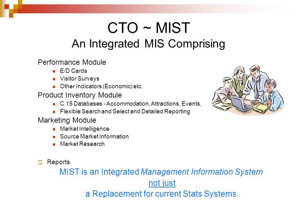 CTO ~ MIST An Integrated MIS Comprising Performance Module E/D Cards Visitor Surveys Other Indicators (Economic) etc. Product Inventory Module C.15 Da