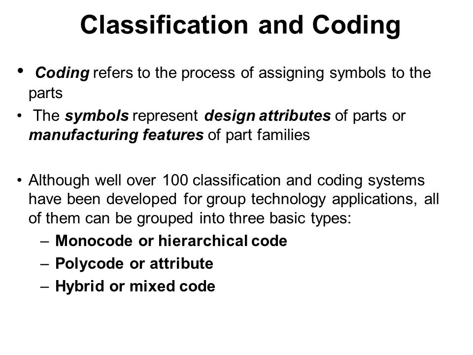 Coding refers to the process of assigning symbols to the parts The symbols represent design attributes of parts or manufacturing features of part fami