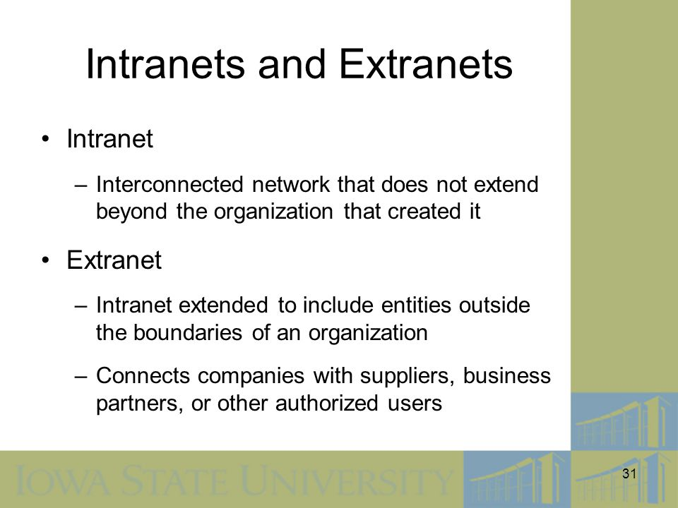 31 Intranets and Extranets Intranet –Interconnected network that does not extend beyond the organization that created it Extranet –Intranet extended t