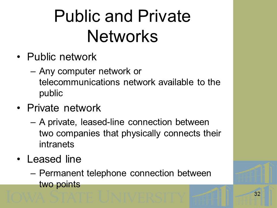 32 Public and Private Networks Public network –Any computer network or telecommunications network available to the public Private network –A private,