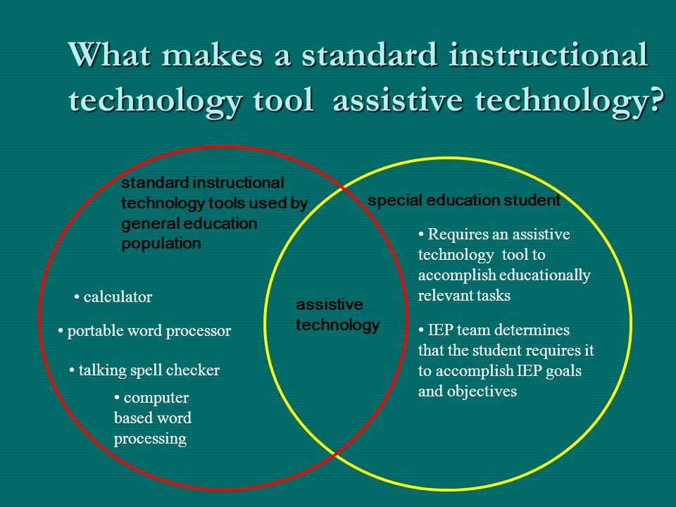 What makes a standard instructional technology tool assistive technology? assistive technology standard instructional technology tools used by general