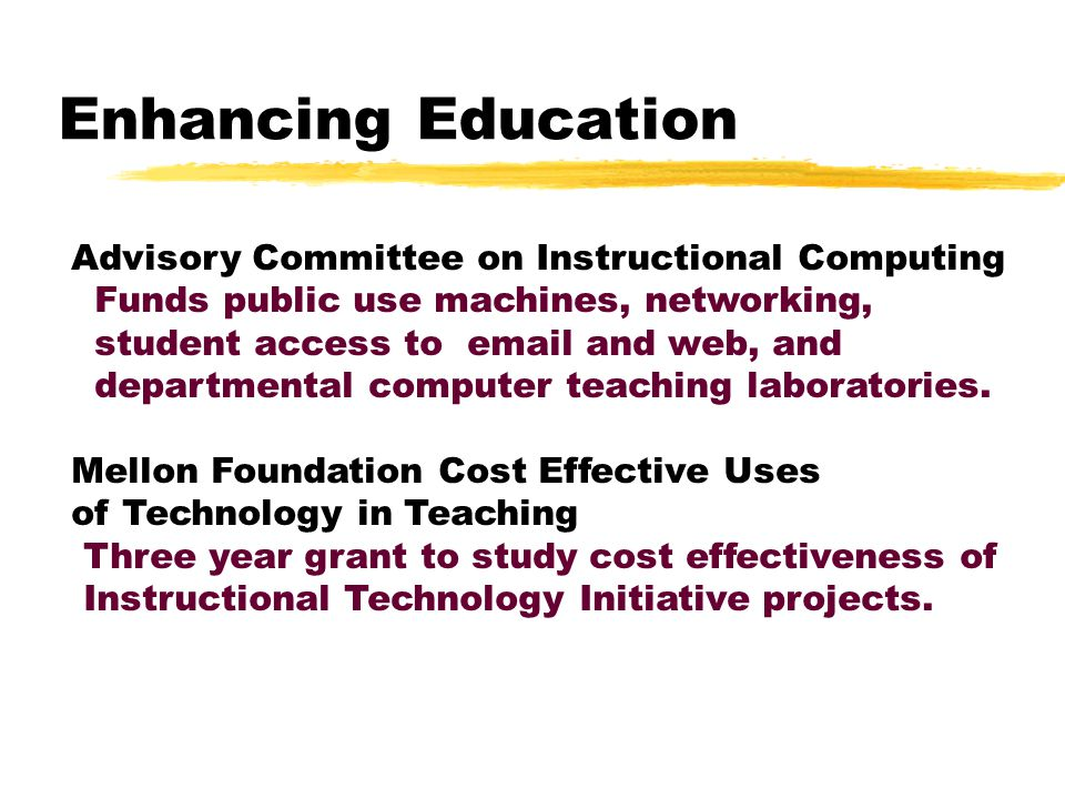 Enhancing Education Instructional Technology Initiative: Funds large grants to departments or schools to transform courses or curricula Year of the Network Promotes development of new instructional technologies and diffuses them throughout the University.