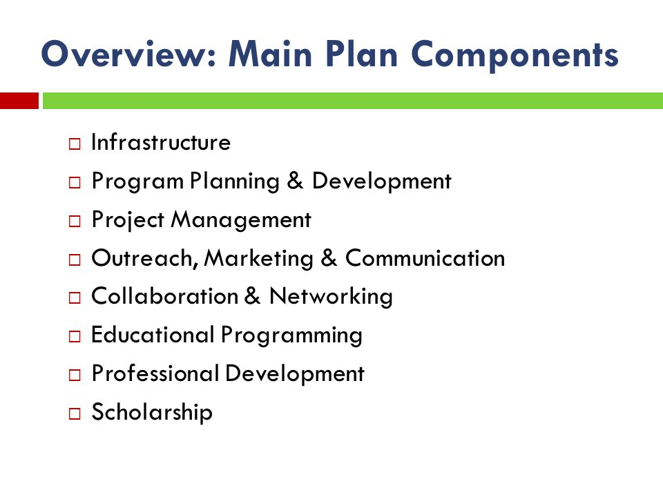 Overview: Main Plan Components Infrastructure Program Planning & Development Project Management Outreach, Marketing & Communication Collaboration & Networking Educational Programming Professional Development Scholarship