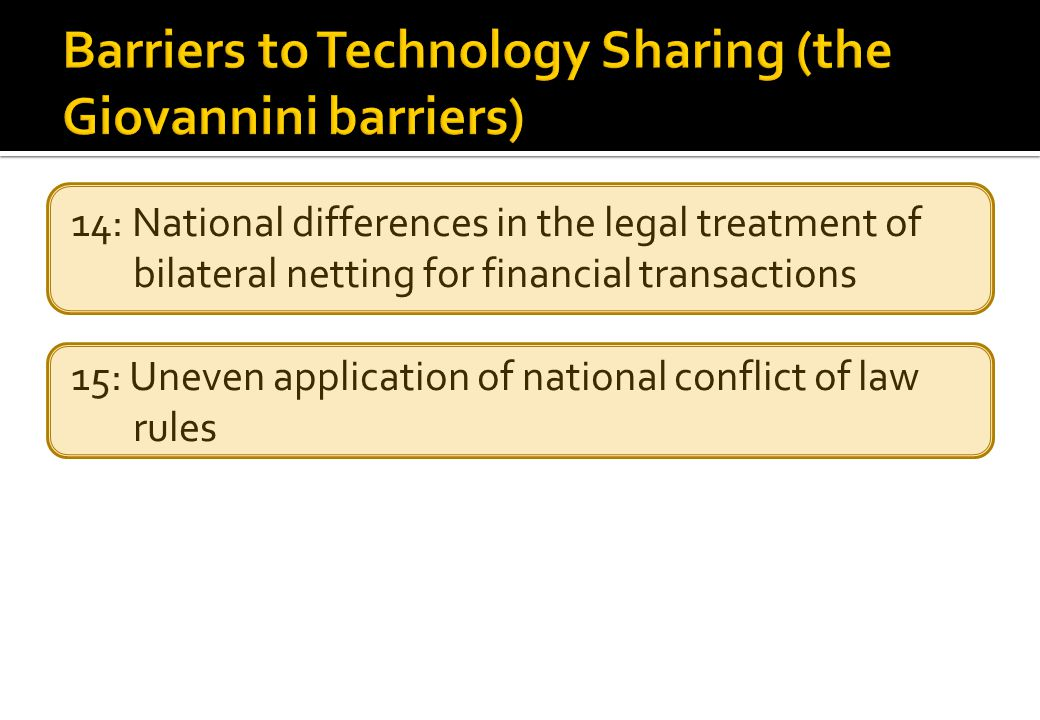 14: National differences in the legal treatment of bilateral netting for financial transactions 15: Uneven application of national conflict of law rules