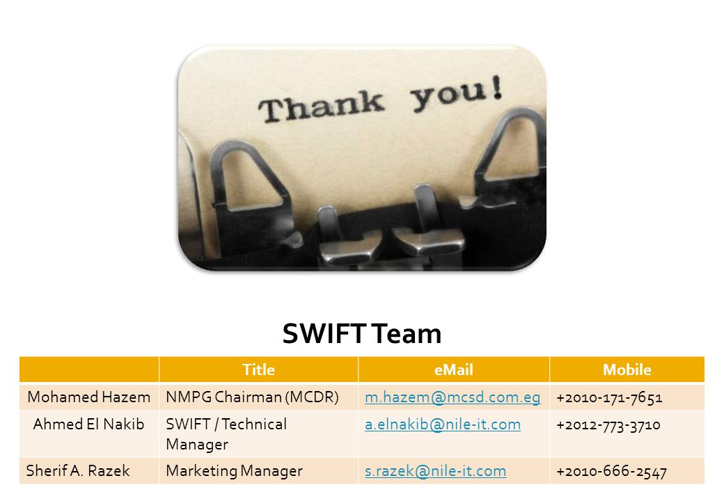 SWIFT Team Title Mobile Mohamed HazemNMPG Chairman Ahmed El NakibSWIFT / Technical Manager Sherif A.