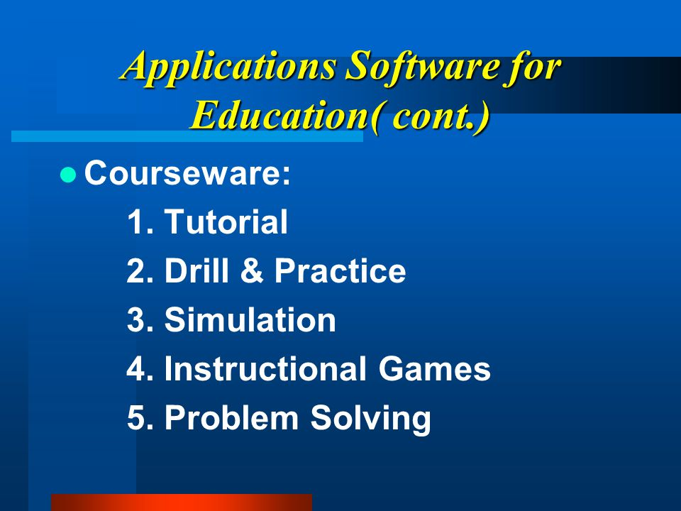 Applications Software for Education( cont.) Programming Software: 1.