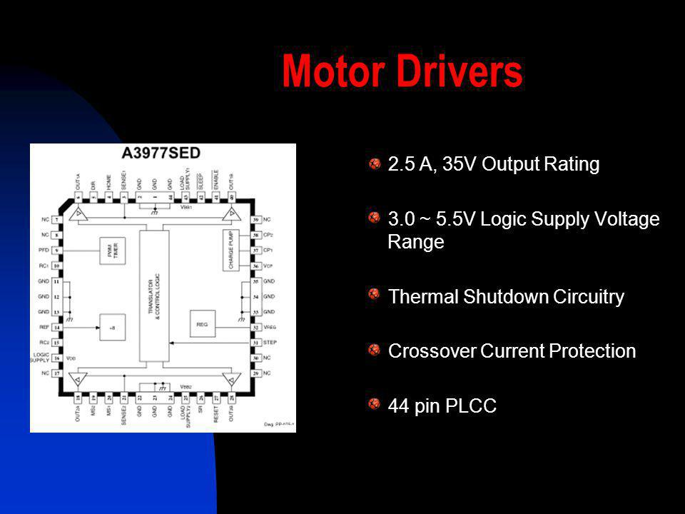Motor Drivers 2.5 A, 35V Output Rating 3.0 ~ 5.5V Logic Supply Voltage Range Thermal Shutdown Circuitry Crossover Current Protection 44 pin PLCC