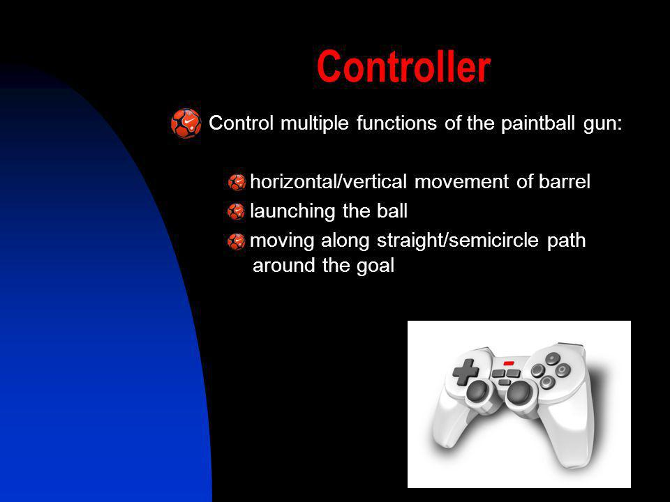 Controller Control multiple functions of the paintball gun: - horizontal/vertical movement of barrel - launching the ball - moving along straight/semi
