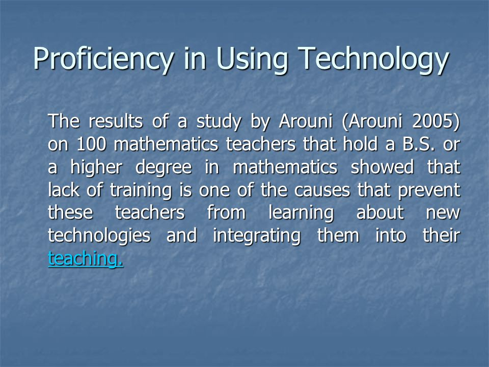 The results of a study by Arouni (Arouni 2005) on 100 mathematics teachers that hold a B.S.