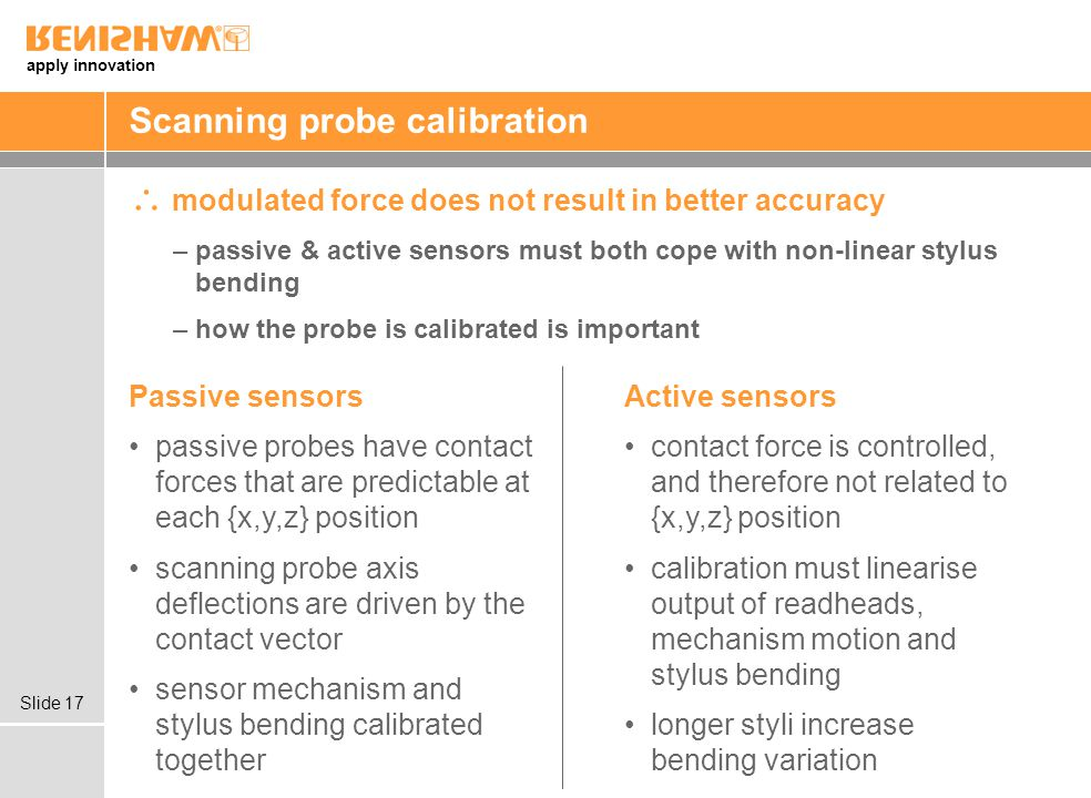 apply innovation Slide 17 Scanning probe calibration modulated force does not result in better accuracy –passive & active sensors must both cope with non-linear stylus bending –how the probe is calibrated is important Passive sensors passive probes have contact forces that are predictable at each {x,y,z} position scanning probe axis deflections are driven by the contact vector sensor mechanism and stylus bending calibrated together Active sensors contact force is controlled, and therefore not related to {x,y,z} position calibration must linearise output of readheads, mechanism motion and stylus bending longer styli increase bending variation