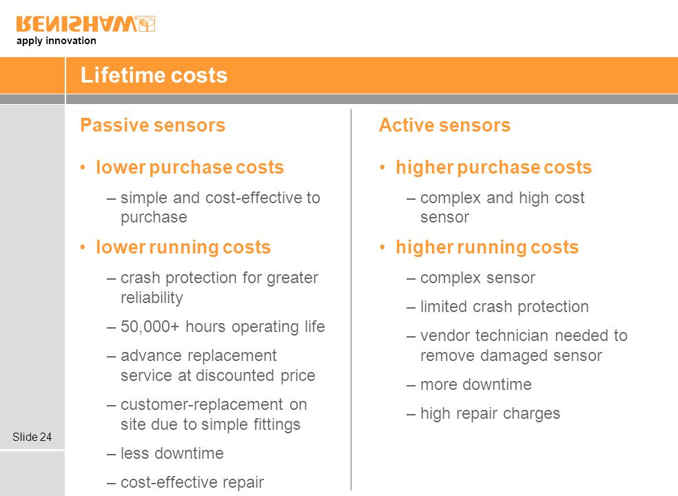 apply innovation Slide 24 Lifetime costs Passive sensorsActive sensors higher purchase costs –complex and high cost sensor higher running costs –complex sensor –limited crash protection –vendor technician needed to remove damaged sensor –more downtime –high repair charges lower purchase costs –simple and cost-effective to purchase lower running costs –crash protection for greater reliability –50,000+ hours operating life –advance replacement service at discounted price –customer-replacement on site due to simple fittings –less downtime –cost-effective repair