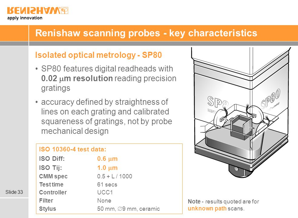 apply innovation Slide 33 Renishaw scanning probes - key characteristics Isolated optical metrology - SP80 SP80 features digital readheads with 0.02 m resolution reading precision gratings accuracy defined by straightness of lines on each grating and calibrated squareness of gratings, not by probe mechanical design ISO 10360-4 test data: ISO Diff:0.6 m ISO Tij:1.0 m CMM spec 0.5 + L / 1000 Test time 61 secs Controller UCC1 FilterNone Stylus 50 mm, 9 mm, ceramic Note - results quoted are for unknown path scans.